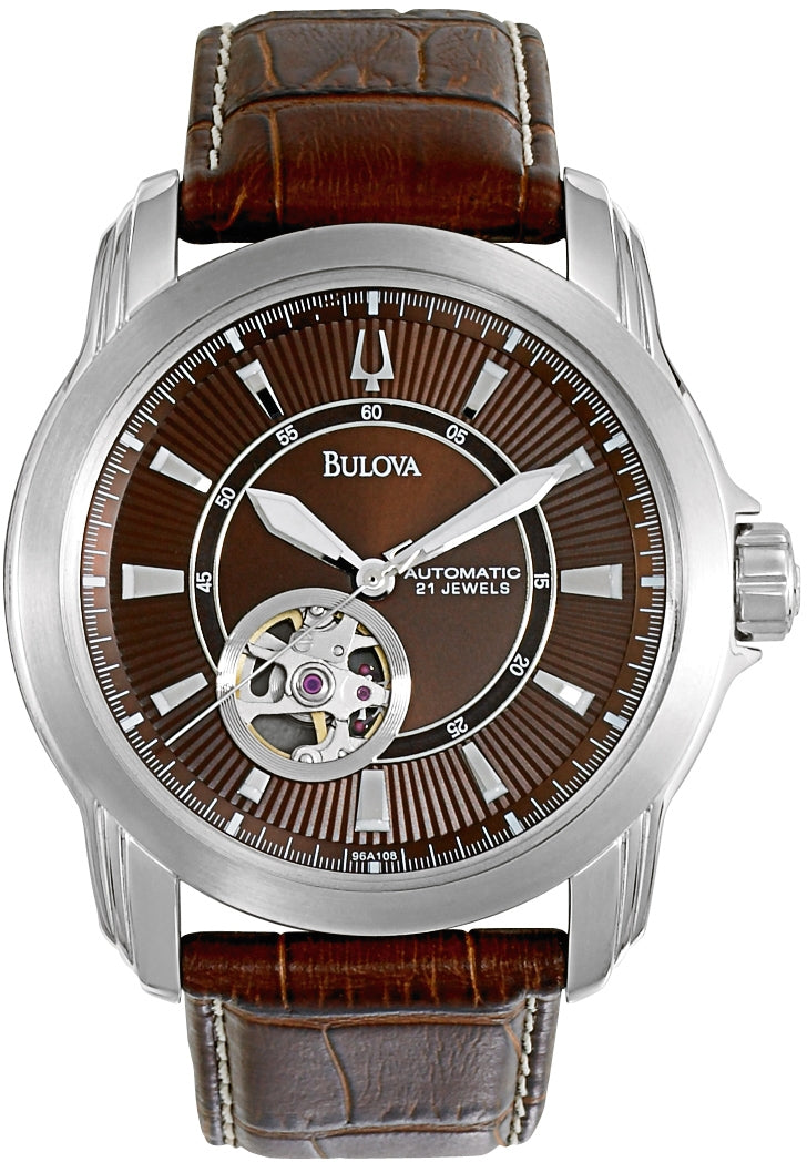Automatic Brown Dial Brown Leather Men's Watch 96A108