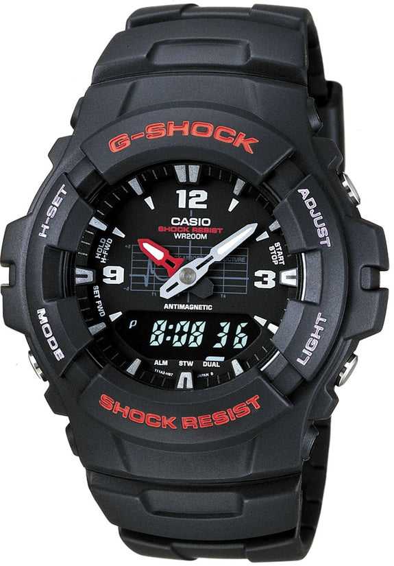 G-Shock Magnetic Resistant Black Dial Red Accent Black Resin Strap Men's Watch G100-1B