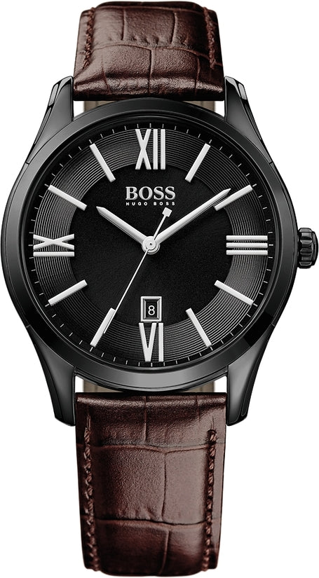 Ambassador Men's Brown Leather Black Dial