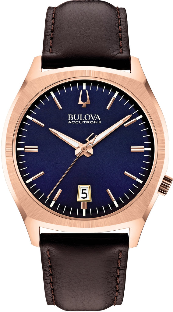 Accutron II Blue Dial Rose Gold Tone Case