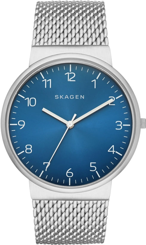 Ancher Silver Tone Mesh Blue Dial