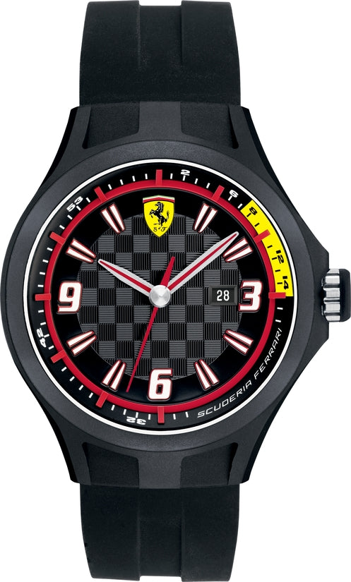 0830005 Pit Crew Black Checkered Dial Silicone Strap Mens Watch