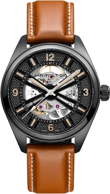 Khaki Men's Brown Leather Strap Skeleton
