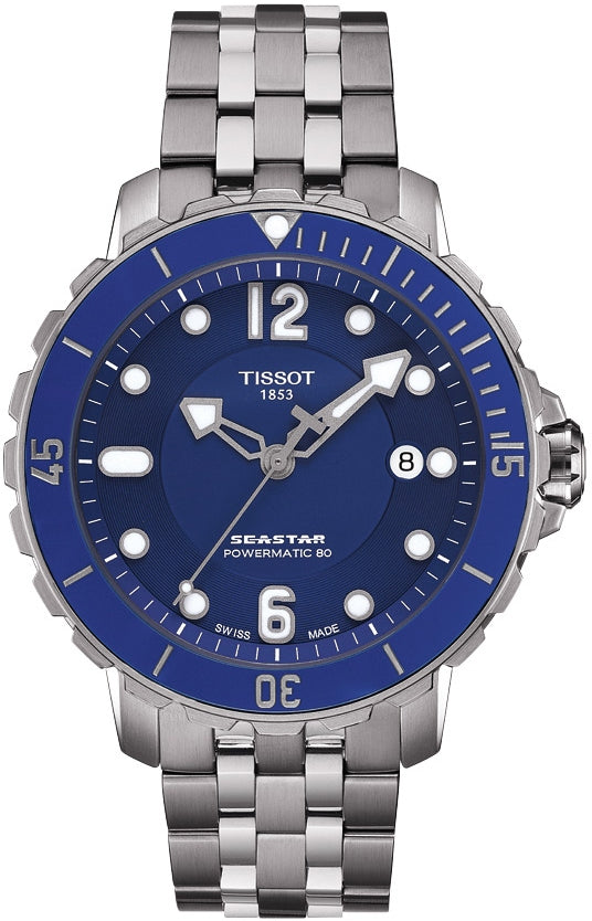 d699bfdcb Tissot Seastar Men's Automatic Blue Dial Watch with Stainless Steel Bracelet