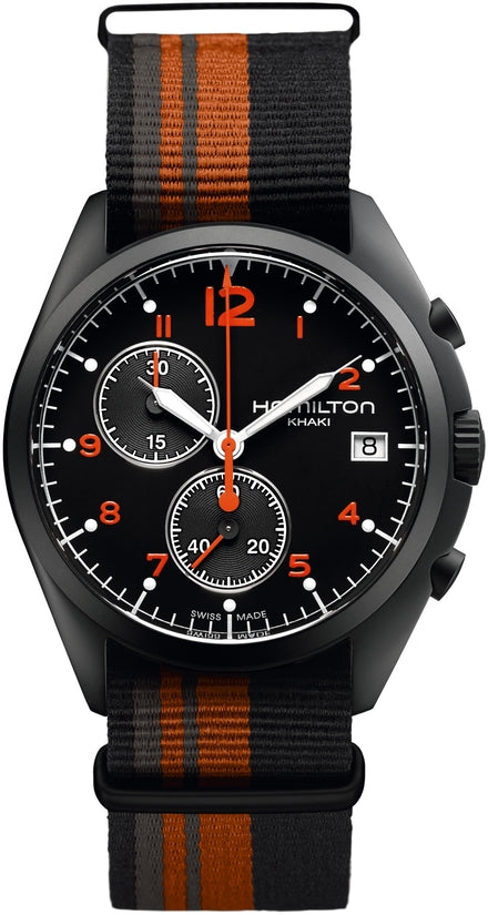 Khaki Men's Black, Grey And Orange Nato Strap Black Dial