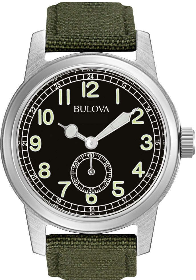Analog Black Dial Green Canvas Strap Men's Watch 96A102