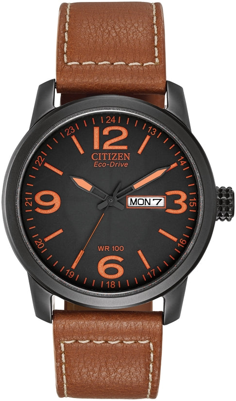 Black IP Case Brown Leather Strap