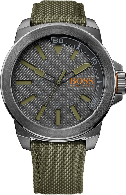 New York Men's Woven Nylon Green Gray Dial