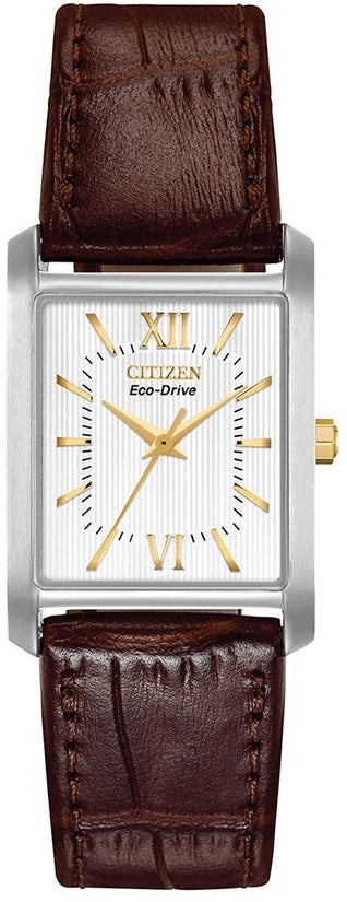 White Dial Brown Leather Strap