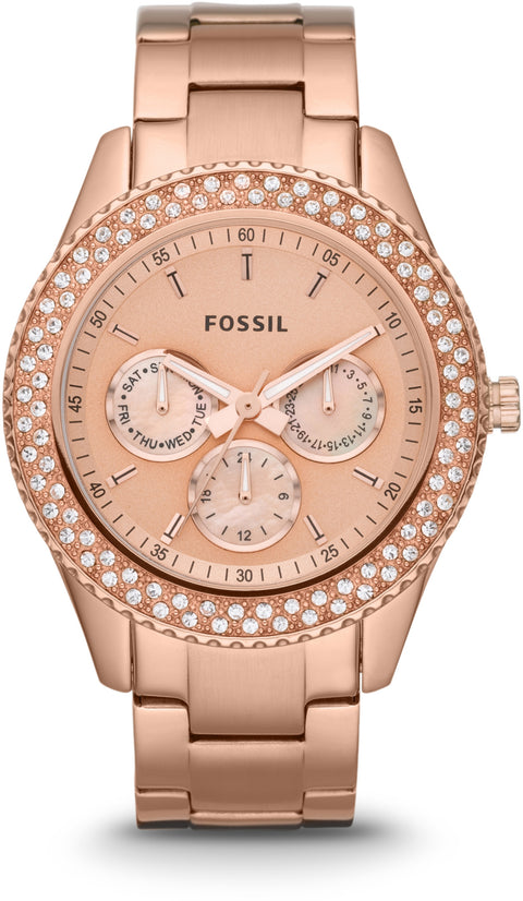 ES3003 Stella Multifunction Rose Gold Tone Stainless Steel Strap Women's Watch