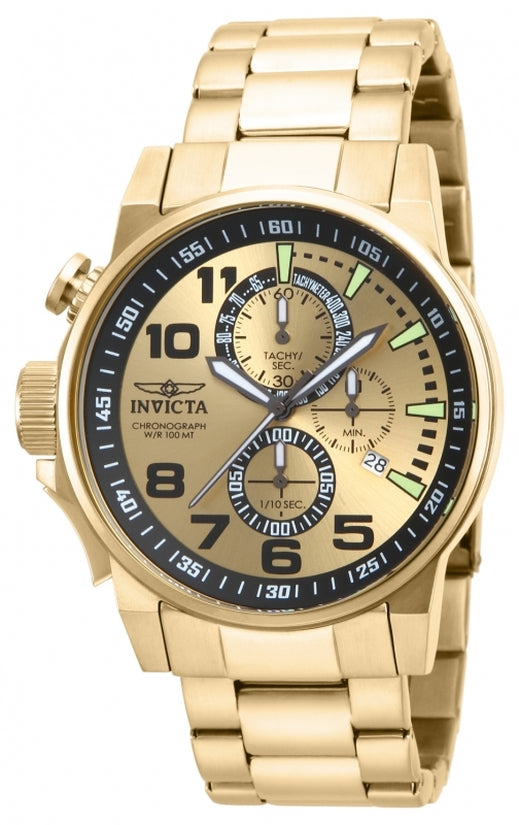 I-Force Men's Stainless Steel Gold Dial