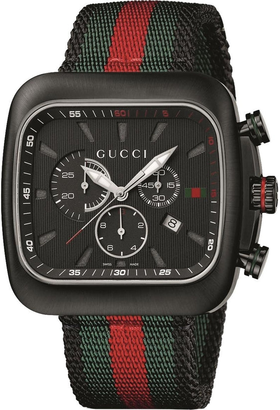 Coupe Chronograph Black Dial Green-Red Nylon Men's Watch YA131201