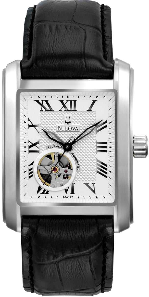 BVA Automatic White Dial Black Leather Strap Men's Watch 96A127