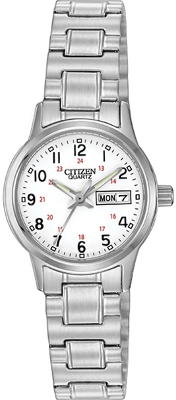 Citizen EQ0580-95A Easy Reader White Dial Expansion Stainless Steel Strap Mens Watch
