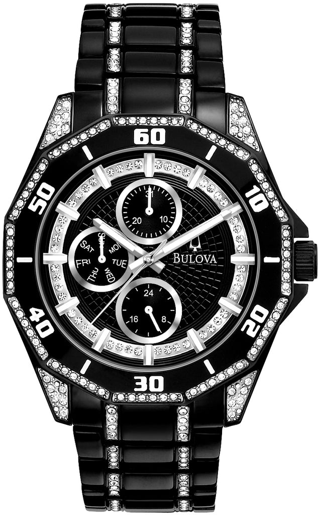 Multifunction Analog Crystal Accented Black Dial Stainless Steel Men's Watch 98C111