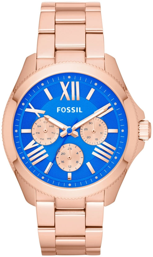 AM4556 Cecile Multifunction Blue Dial Rose Gold Tone Stainless Steel Strap Women's Watch