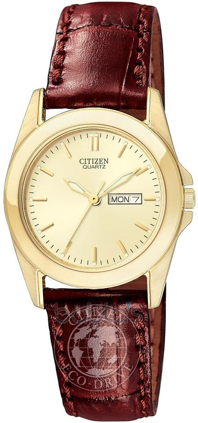 Day Date Gold Tone Brown Leather Womens Watch EQ0562-03P