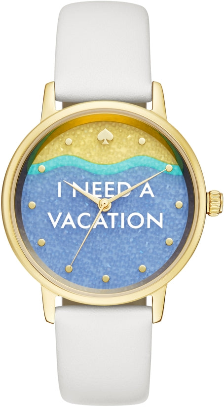 Metro I Need A Vacation Dial White Leather