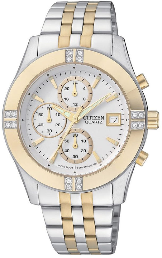 Oversized Chronograph Swarovski Two-Tone Stainless Steel Womens Watch FA1044-51A