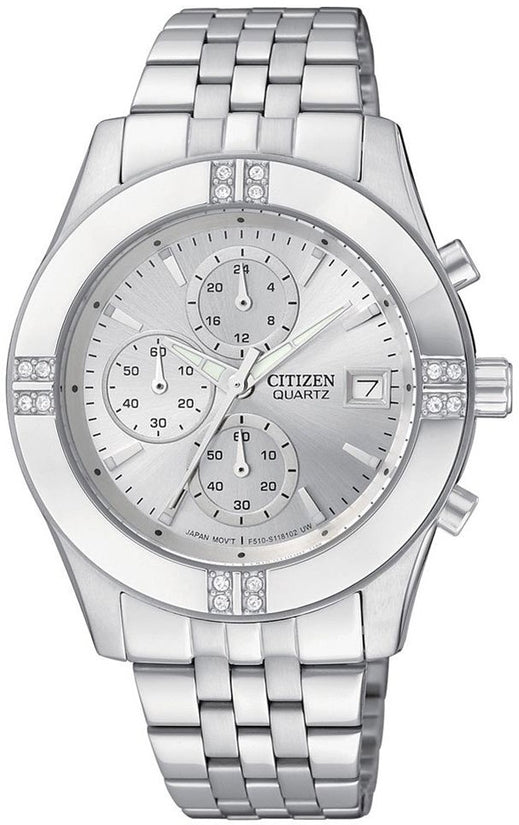 Oversized Chronograph Swarovski Silver Tone Stainless Steel Womens Watch FA1040-51A