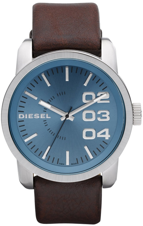 Double Down 46 Blue Dial Dark Brown Leather