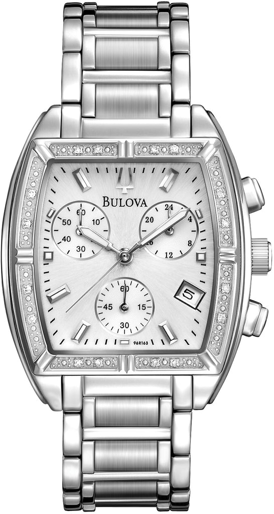 Chronograph Diamond Accented Analog Silver Dial Stainless Steel Women's Watch 96R163