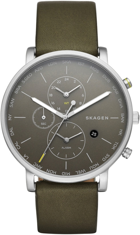 Hagen World Time & Alarm Dark Brown Leather