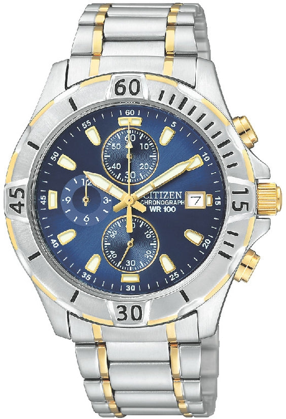 Chronograph Two Tone Blue Dial Stainless Steel Mens Watch AN3394-59L