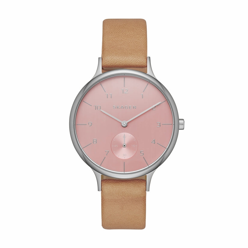 Anita Pink Dial Tan Leather