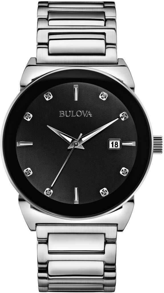 96D121 Black Dial Stainless Steel Strap Mens Watch