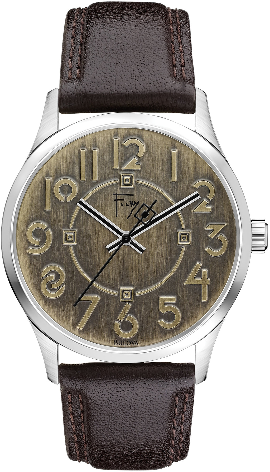 Frank Lloyd Wright Exhibition Brown Leather Mens Watch 96A148