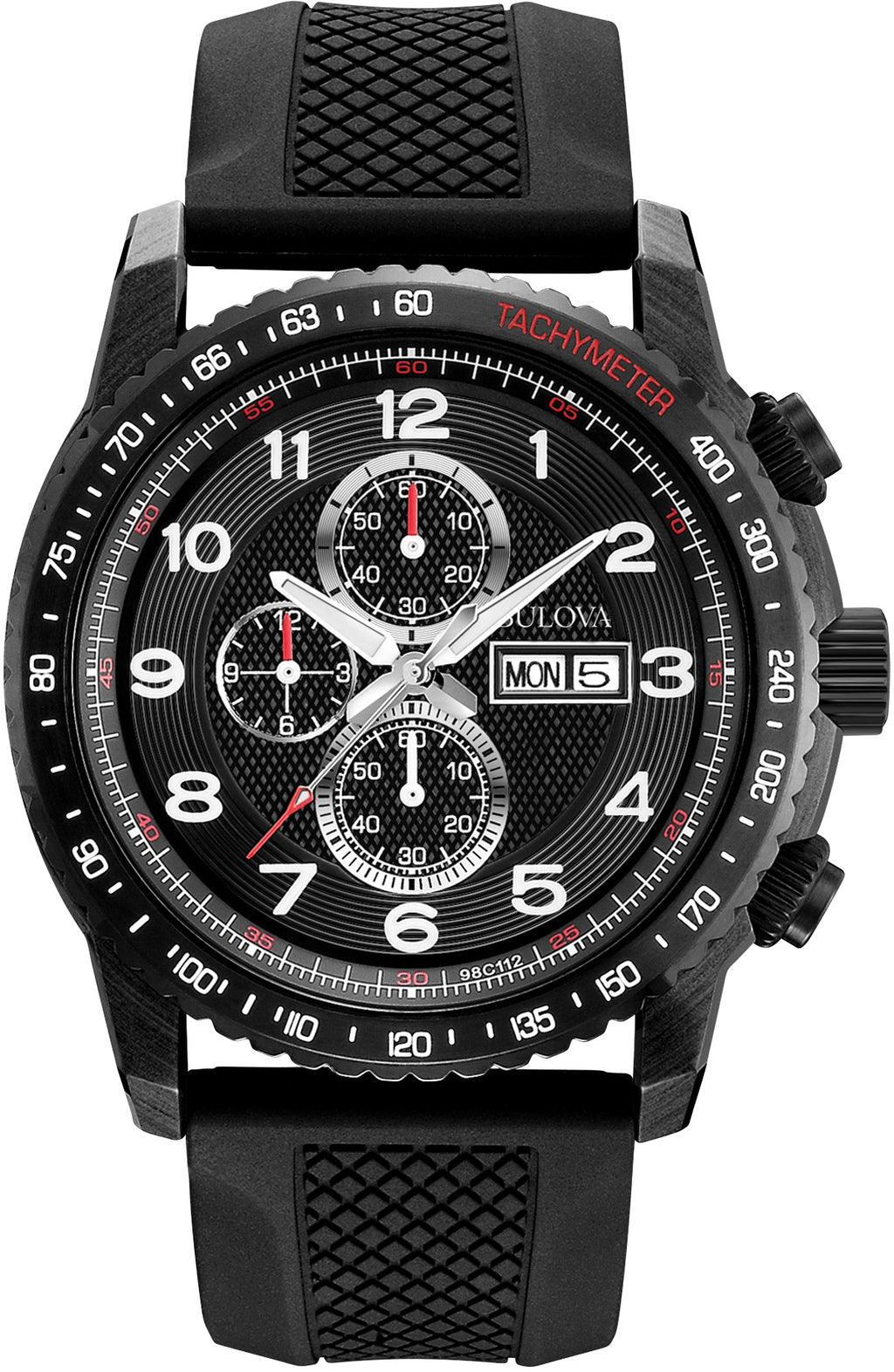 Marine Star Chronograph Black Dial Silicone Strap Men's Watch 98C112