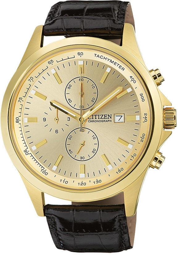 Chronograph Gold Tone Black Leather Mens Watch AN3512-03P