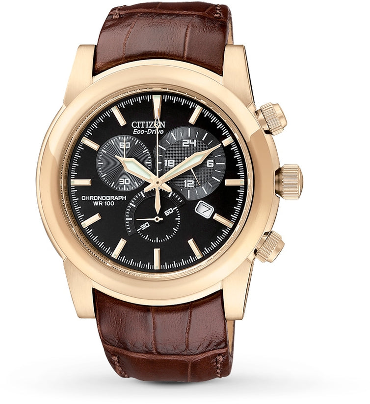 AT0553-05E Chronograph Black Dial Brown Leather Strap Men's Watch