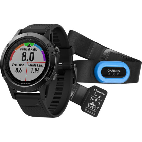 Fenix 5 Sapphire Black with Black Band Multisport Training GPS Performer Bundle