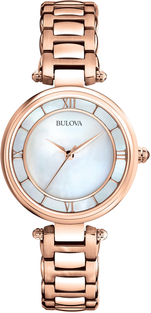 Dress Analog MOP Dial Rose-Gold Stainless Steel Women's Watch 97L124