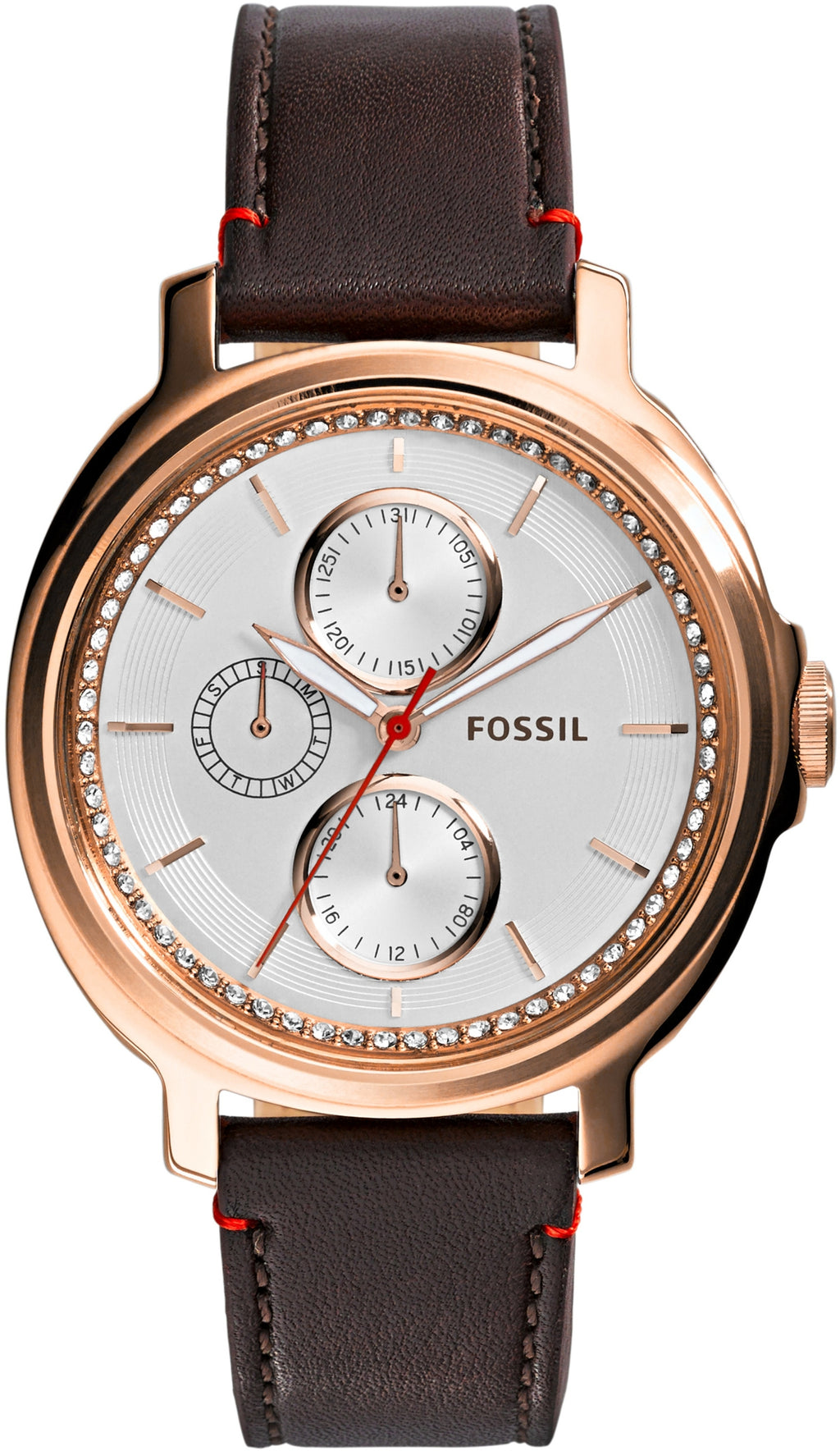 Chelsey Multifunction White Dial Brown Leather