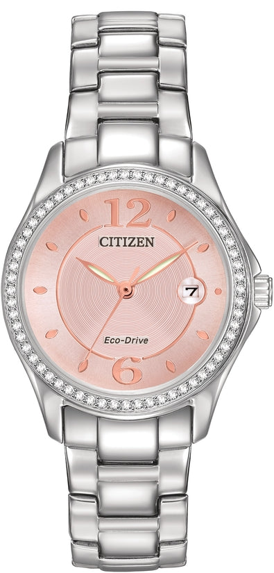 Silhouette Crystal Pink Dial Silver Tone
