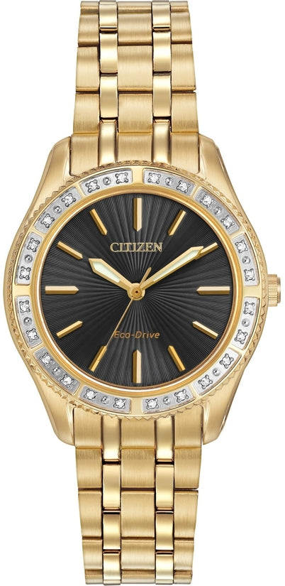 Diamond Gold Tone Black Dial 24 Diamonds