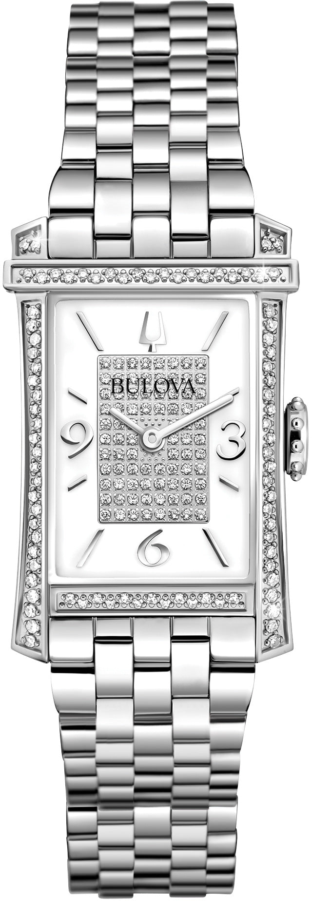Analog Rectangular Diamond Bezel Stainless Steel Womens Watch 96R188