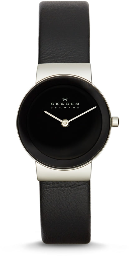 358SSLB Freja Black Dial Leather Strap Women's Watch