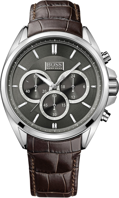 Driver Men's Brown Leather Gray Dial