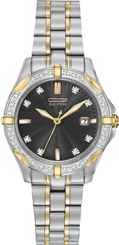 Diamond Accented Black Dial Analog Two-Tone Stainless Steel Women's Watch EW1924-52H