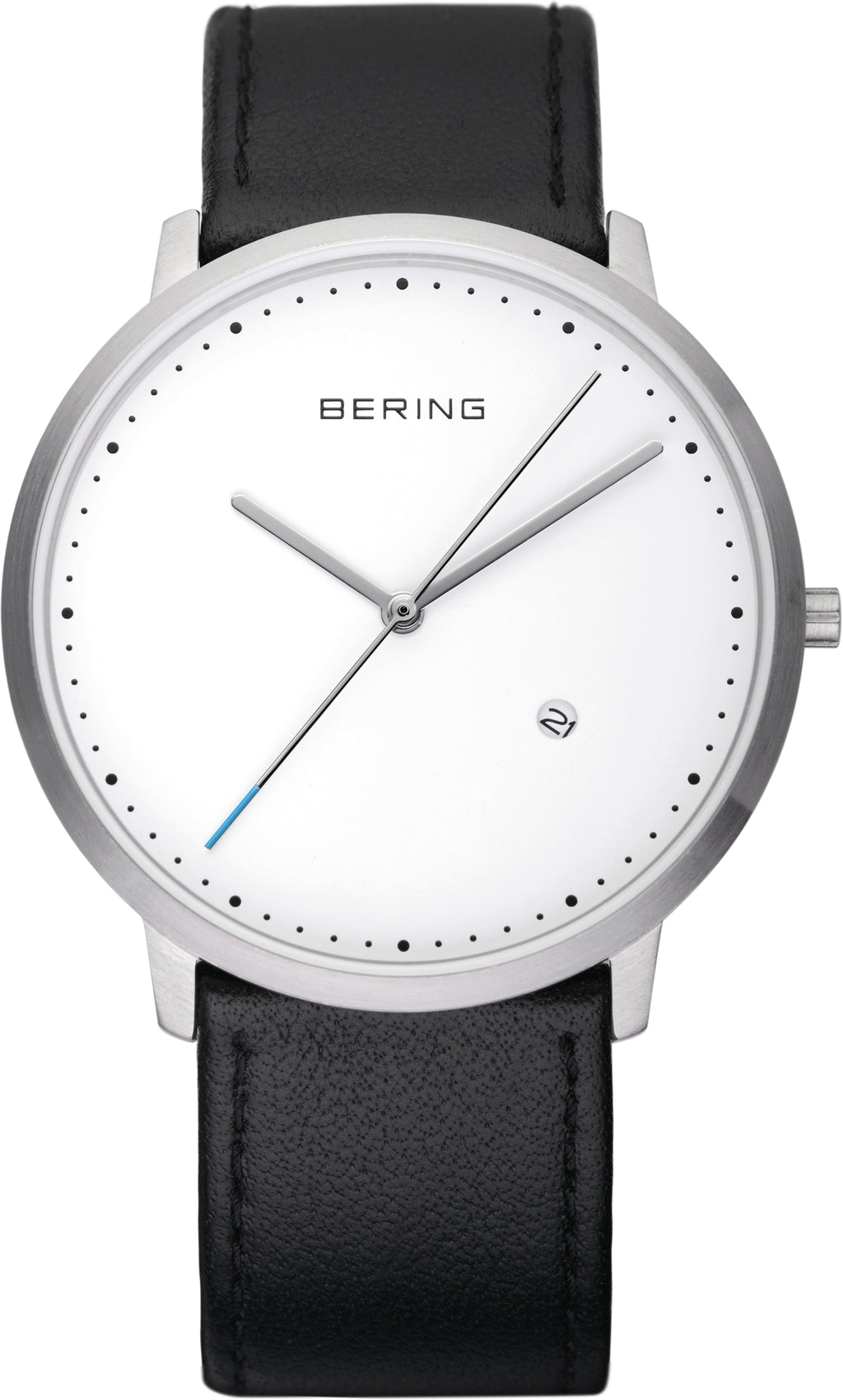 Men's Black Leather White Dial