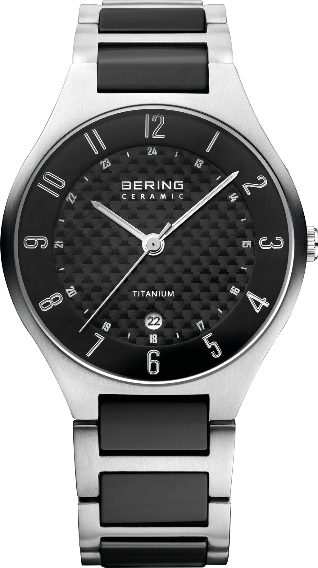 Men's Titanium and Ceramic Black Dial
