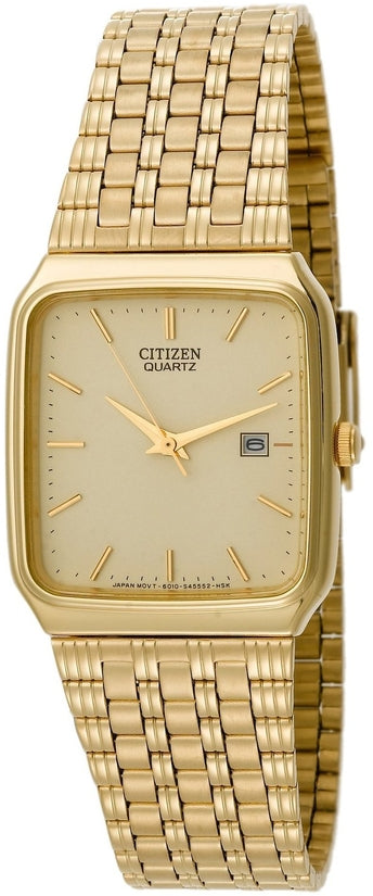 Rectangular Gold Tone Stainless Steel Mens Watch AD2992-59P