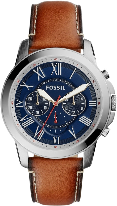Grant Chronograph Brown Leather Blue Dial