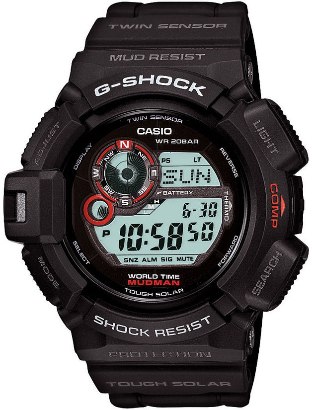 G-Shock Mudman Multifunction World Time Black Resin Mens Watch G9300-0