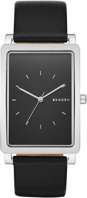 Hagen Rectangular Black Dial & Leather