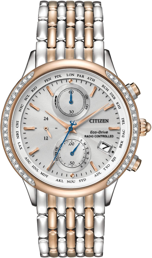 World Chronograph A-T 38 Diamonds Silver & Rose